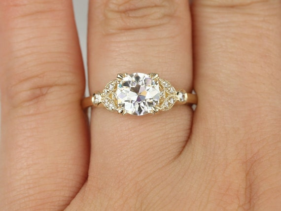 Antoinette 7mm 14kt Solid Gold Forever Brilliant Moissanite Diamonds Old Miners Dainty Art Deco Round Engagement Ring,Rosados Box