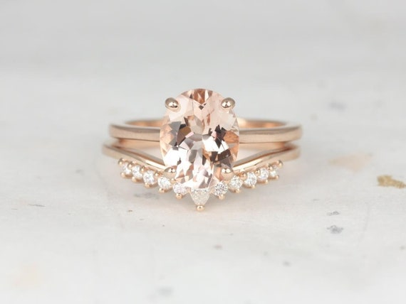 Oval Morganite Diamonds Tiara Thin Low Cathedral Solitaire Wedding Set Rings Rings, 14kt Solid Rose Gold, Delia 10x8mm & Marie. Rosados Box