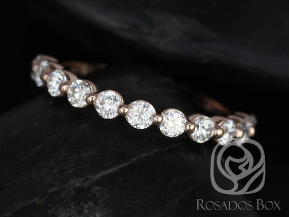 Forever One Moissanite Single Prong Floating HALFWAY Eternity Band Ring,14kt Solid Rose Gold,DIAMOND FREE Naomi 2.5mm,Rosados Box