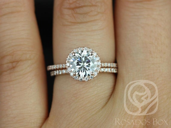 Rosados Box Kimberly 7.5mm 14kt Rose Gold Round F1- Moissanite and Diamond Halo Wedding Set