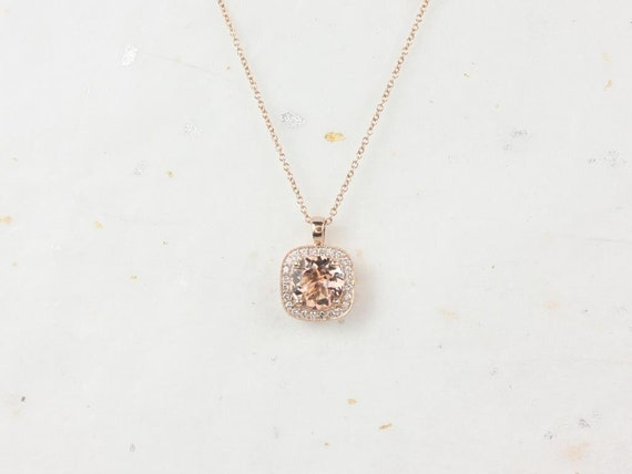 Rosados Box Ready to Ship Rheine 14kt Rose Gold Round Morganite Diamonds Cushion Halo WITH Milgrain Necklace