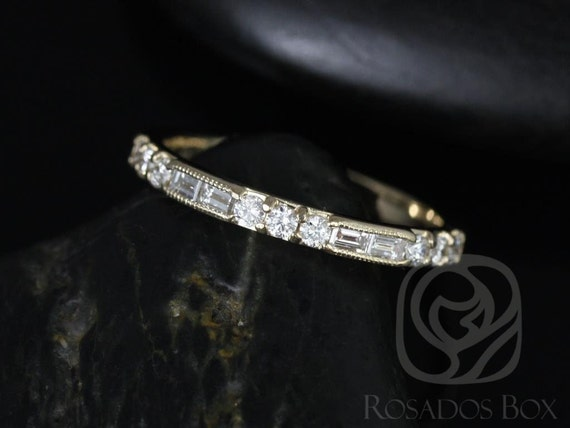 Victorian Round Baguette Diamond WITH Hand Milgrain HALFWAY Eternity Stacking Ring,14kt Gold,Gabriella,Rosados Box
