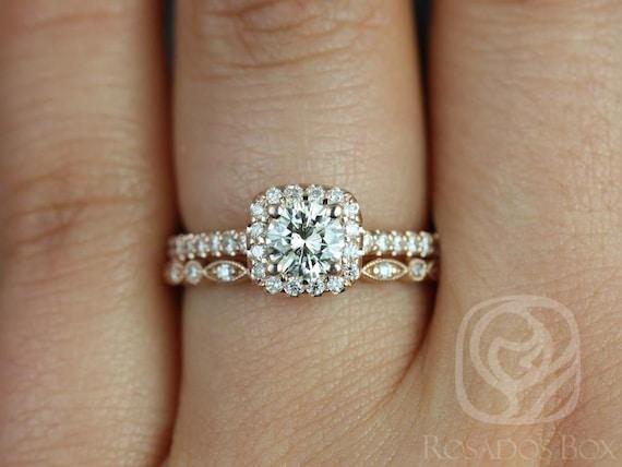 Rosados Box Conflict Free Mikena 1/2ct & Ult Petite Bd Eye 14kt Rose Gold Cushion Halo Diamonds Wedding Set Rings