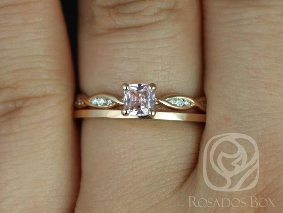 Cushion Peach Sapphire Diamonds Solitaire Wedding Set Rings,14kt Solid Rose Gold,Ready to Ship Ember 0.44cts & PLAIN Romani,Rosados Box