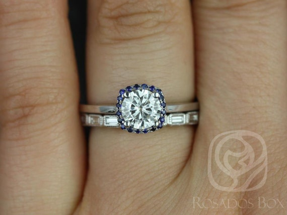 Forever One Moissanite Diamond Sapphire Cushion Halo Wedding Set Rings Rings . 14kt Solid Gold. Bella 6mm & Rihani . Rosados Box