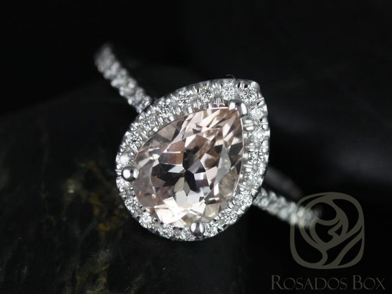9x7mm Pear Morganite Diamonds Halo Engagement Ring,14kt Solid White Gold,Tabitha 9x7mm,Rosados Box