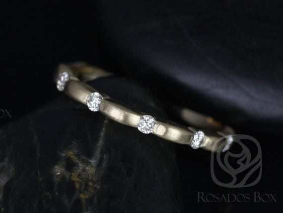 Rosados Box Ready to Ship Juno 14kt WHITE Gold Tension Bubble Diamond HALFWAY Eternity Band