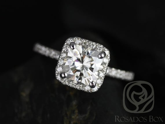 1.70ct Pernella 7mm,14kt White Gold Forever One Moissanite Diamond Dainty Micropave Cushion Halo Non-Cathedral Engagement Ring,Rosados Box