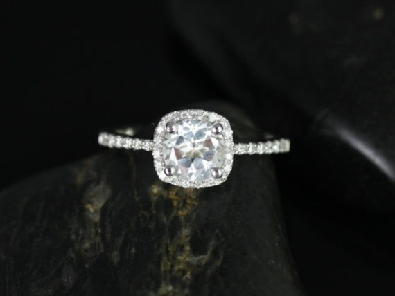 Rosados Box Barra 6mm 14kt White Gold White Topaz and Diamonds Cushion Halo Engagement Ring