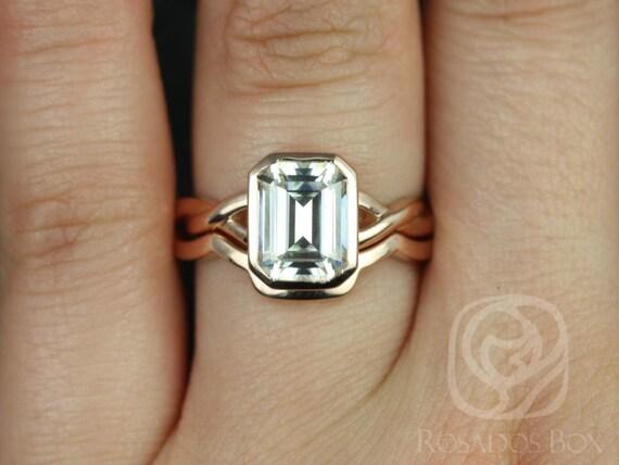 Rosados Box Leslie 9x7mm 14kt Rose Gold Emerald Forever One GHI Moissanite Bezel Twist Wedding Set