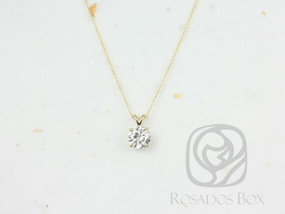 Rosados Box Ready to Ship Donna 8mm 14kt ROSE Gold Round F1- Moissanite Solitaire Leaf Gallery Basket Necklace