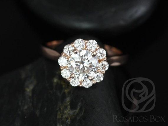 Rosados Box Blossom 6.5mm 14kt Rose Gold Round Forever One Moissanite Diamonds Flower Halo Engagement Ring