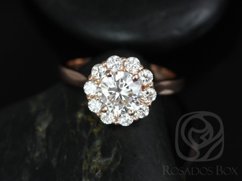 4f7d6c796a0 Rosados Box Blossom 6.5mm 14kt Rose Gold Round Forever One Moissanite  Diamonds Flower Halo Engagement Ring