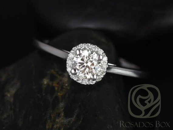 Amerie 4.5mm 14kt White Gold Round Forever One Moissanite Diamond Dainty Pave Round Halo Engagement Ring,Rosados Box