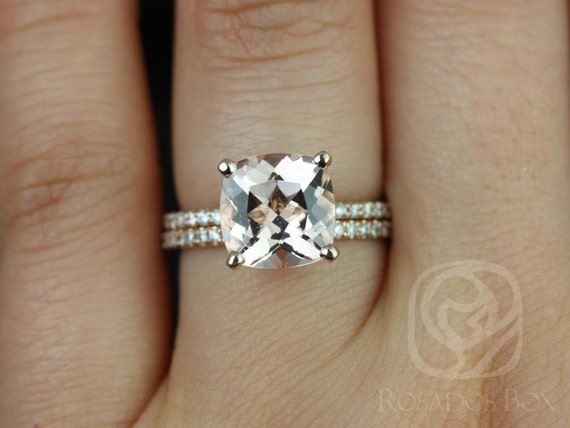 9mm Cushion Morganite Diamond Dainty Micro Pave Hidden Halo Wedding Set Rings Rings,14kt Rose Gold,Heidi 9mm,Rosados Box
