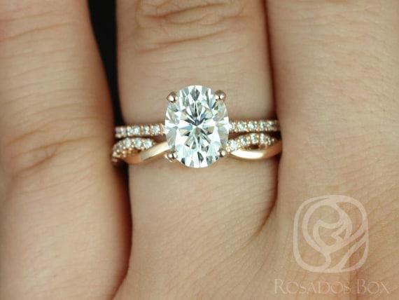 Rosados Box Hillary 9x7mm & Dusty 14kt Rose Gold Oval Forever One Moissanite Diamond Basket Wedding Set