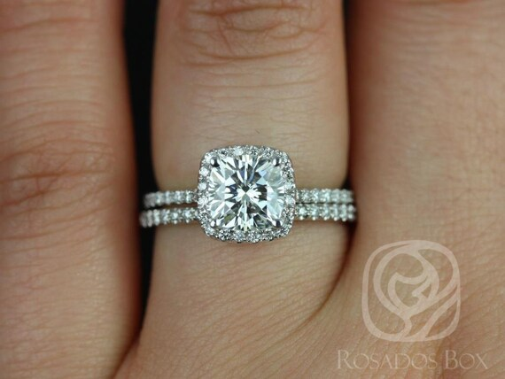 1.30ct Catalina 6.5mm 14kt White Gold Forever One Moissanite Diamond Thin Micropave Cushion Halo Classic Wedding Set Rings,Rosados Box