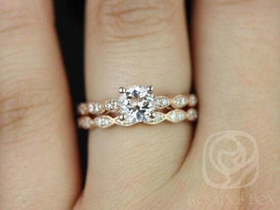 Rosados Box Helena 6mm 14kt Rose Gold Round Morganite Diamond Wedding Set Rings