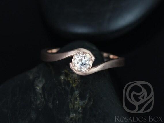 Rosados Box Vadim 5mm Satin Finish 14kt Rose Gold Round Morganite Single Twist Engagement Ring