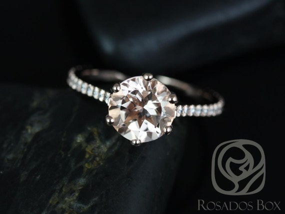 Rosados Box Dora 8mm 14kt Rose Gold Round Morganite and Diamonds Cathedral Webbed 6 Prong Classic Engagement Ring