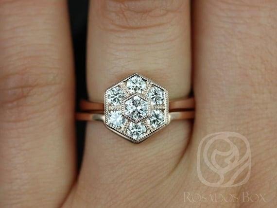 Art Deco Hexagon WITH Milgrain Diamonds Cluster Wedding Set Rings Rings,14kt Solid Rose Gold,Mosaic Grande,Rosados Box