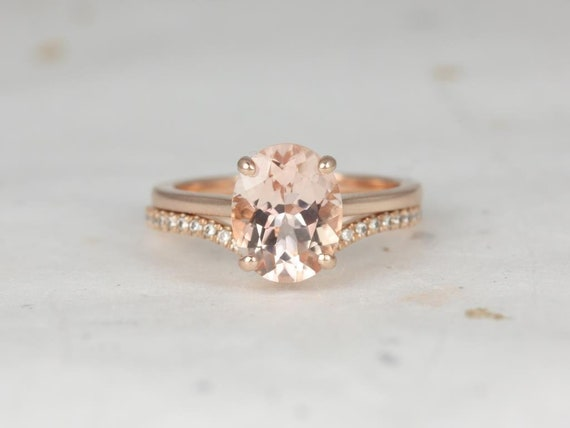 Oval Morganite Diamonds Chevron Thin Low Cathedral Solitaire Wedding Set Rings Rings,14kt Solid Rose Gold, Delia 10x8mm & Chevy, Rosados Box