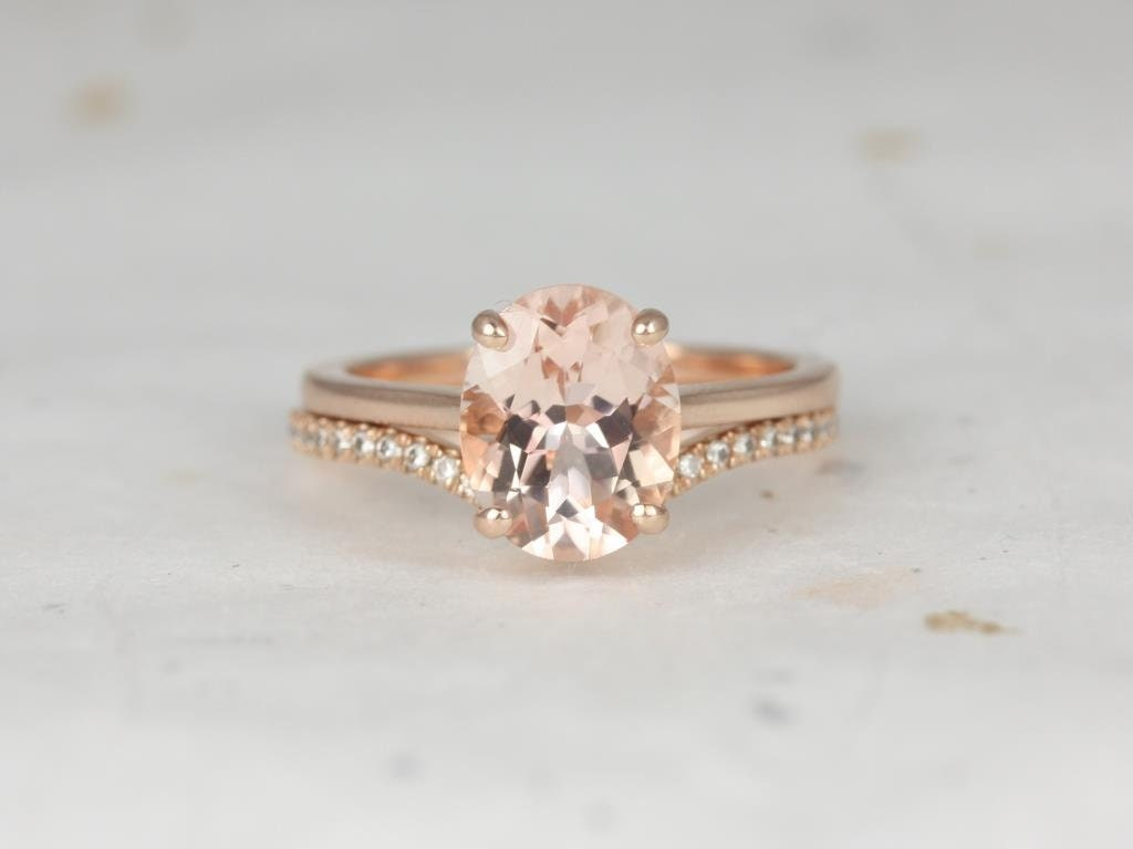 Oval Morganite Diamonds Chevron Thin Low Cathedral Solitaire Wedding Set Rings Rings 14kt Solid Rose Gold Delia 10x8mm Chevy Rosados Box