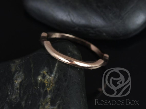 14kt Rose Gold Matching Band to Orla 6mm/Mara 11x5.5mm/Cassidy 6mm PLAIN Band Ring,Rosados Box