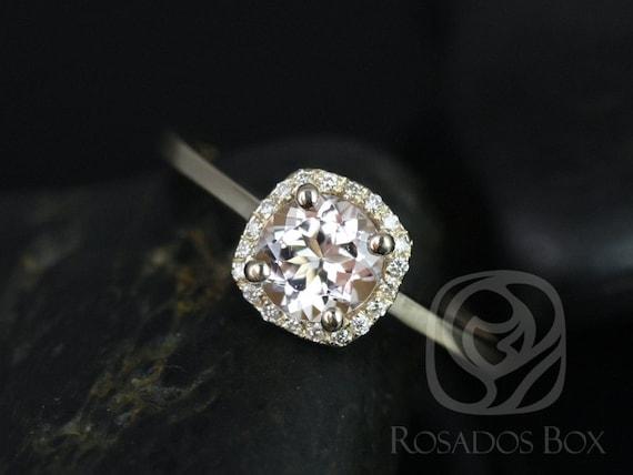 Morganite Diamond Cushion Halo Engagement Ring. 14kt Solid Gold . Ready to Ship . Bella 6mm . Rosados Box