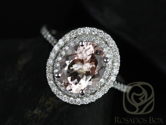 Rosados Box Ready to Ship Cara 10x8mm 14kt White Gold Oval Morganite and Diamonds Double Halo Engagement Ring