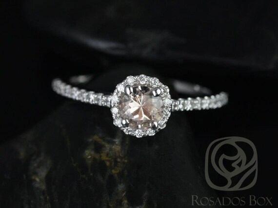 Rosados Box Amanda 5mm 14kt White Gold Round Morganite and Diamond Halo Engagement Ring