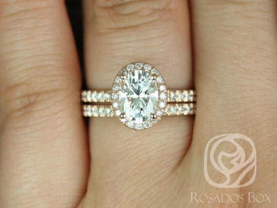 1.50ct EXTRA LOW Chantelle 8x6mm 14kt Solid Rose Gold Oval Forever One Moissanite Diamond Micropave Halo Wedding Set Rings,Rosados Box