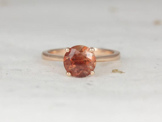 Skinny Flora 8mm 14kt Rose Gold Sunstone Dainty Thin Cathedral Round Solitaire Engagement Ring,Rosados Box