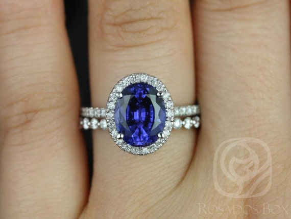 10x8mm Oval Blue Sapphire Diamond Micropave Halo Wedding Set Rings Rings,14kt Solid White Gold ,Chantelle 10x8mm & Petite Naomi,Rosados Box