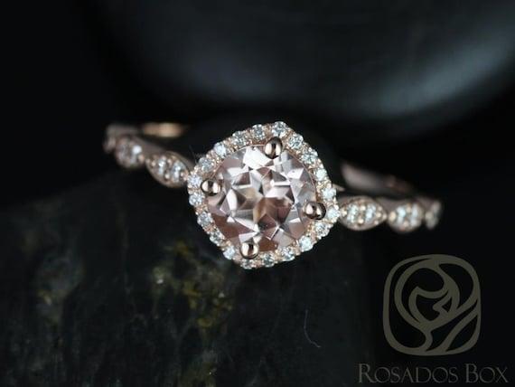 Round Morganite Diamonds Kite Halo WITHOUT Milgrain Engagement Ring, 14kt Solid Rose Gold, Katya 6mm, Rosados Box