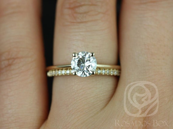 1ct Skinny Alberta 6.5mm & Romani 14kt Gold Forever One Moissanite Diamonds Pave Round Solitaire Wedding Set Rings,Rosados Box