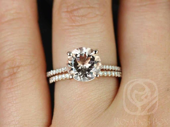 9mm Round Morganite White Sapphires Thin Classic Solitaire Accent Wedding Set Rings,14kt Rose Gold,DIAMOND FREE Eloise 9mm,Rosados Box