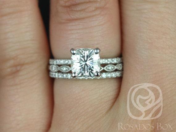 1.70ct Cushion Forever One Moissanite Diamond Art Deco Scalloped TRIO Wedding Set Rings,14kt White Gold,Heidi 7mm & Ult Pte Leah,Rosados Box