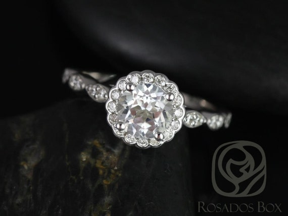 Rosados Box Sunny 6mm 14kt White Gold Round White Topaz and Diamonds Halo WITHOUT Milgrain Engagement Ring