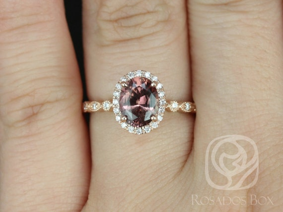 Rosados Box Gwen 1.49cts 14kt Rose Gold Oval Cinnamon Red Sapphire and Diamonds Vintage Halo WITH Milgrain Engagement Ring