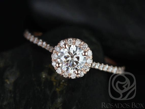 Rosados Box Ready to Ship Kubian 5mm 14kt YELLOW Gold Round F1- Moissanite and Diamonds Halo Engagement Ring