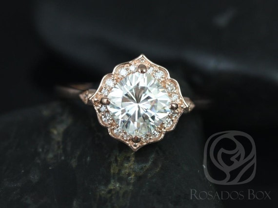 1.70ct Cushion Forever One Moissanite Diamond Scalloped Kite Halo WITHOUT Milgrain Engagement Ring,14kt Solid Rose Gold,Lily 7mm,Rosados Box