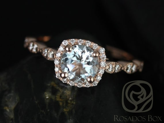 Rosados Box Christie 6mm 14kt Rose Gold Aquamarine and Diamonds Cushion Halo WITH Milgrain Engagement Ring