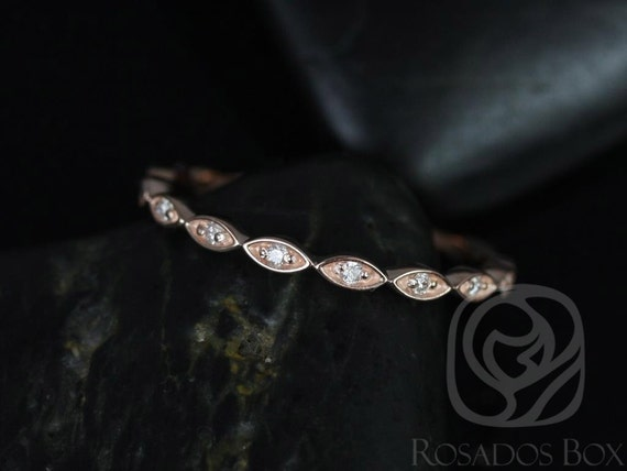 Ultra Petite Leah 14kt Rose Gold Thin Vintage Diamond Vintage WITHOUT Milgrain ALMOST Eternity Band Stack Ring,Rosados Box