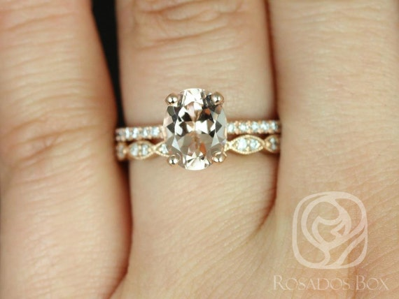 Rosados Box Hillary 9x7mm & Christie 14kt Rose Gold Oval Morganite Diamond Halo Wedding Set Rings