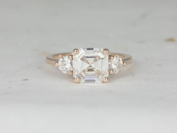 Rosados Box Minah 8mm 14kt Rose Gold Asscher & Round F1- Moissanite 3 Stone Engagement Ring
