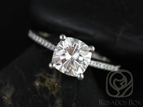 SALE Rosados Box Ready to Ship Danielle 7.5mm 14kt White Gold Cushion FB Moissanite Solitaire with Accent Diamonds Engagement Ring