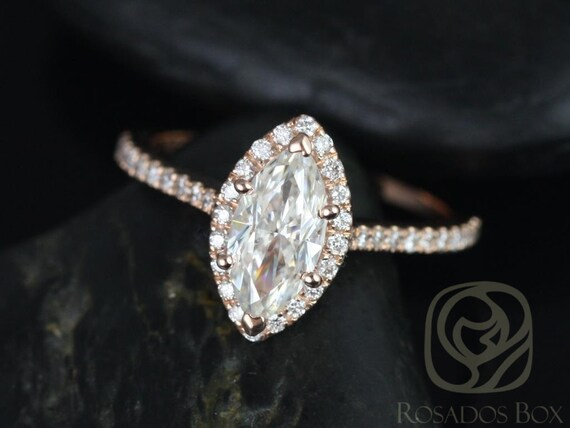 Sasha 10x5mm 14kt Rose Gold Marquise Forever One Moissanite Diamond Halo Engagement Ring (Other Center Stone Available Upon Request)