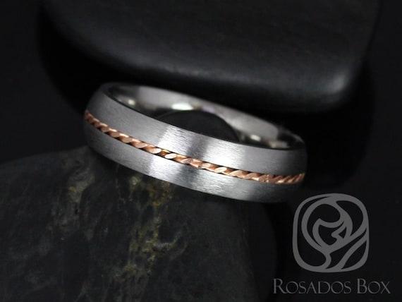 Rosados Box Darth 6mm 14kt Rose Gold & Cobalt Matte Single Braided Band