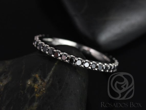 Rosados Box Mohma 14kt White Gold Scalloped Black Diamond FULL Eternity Band